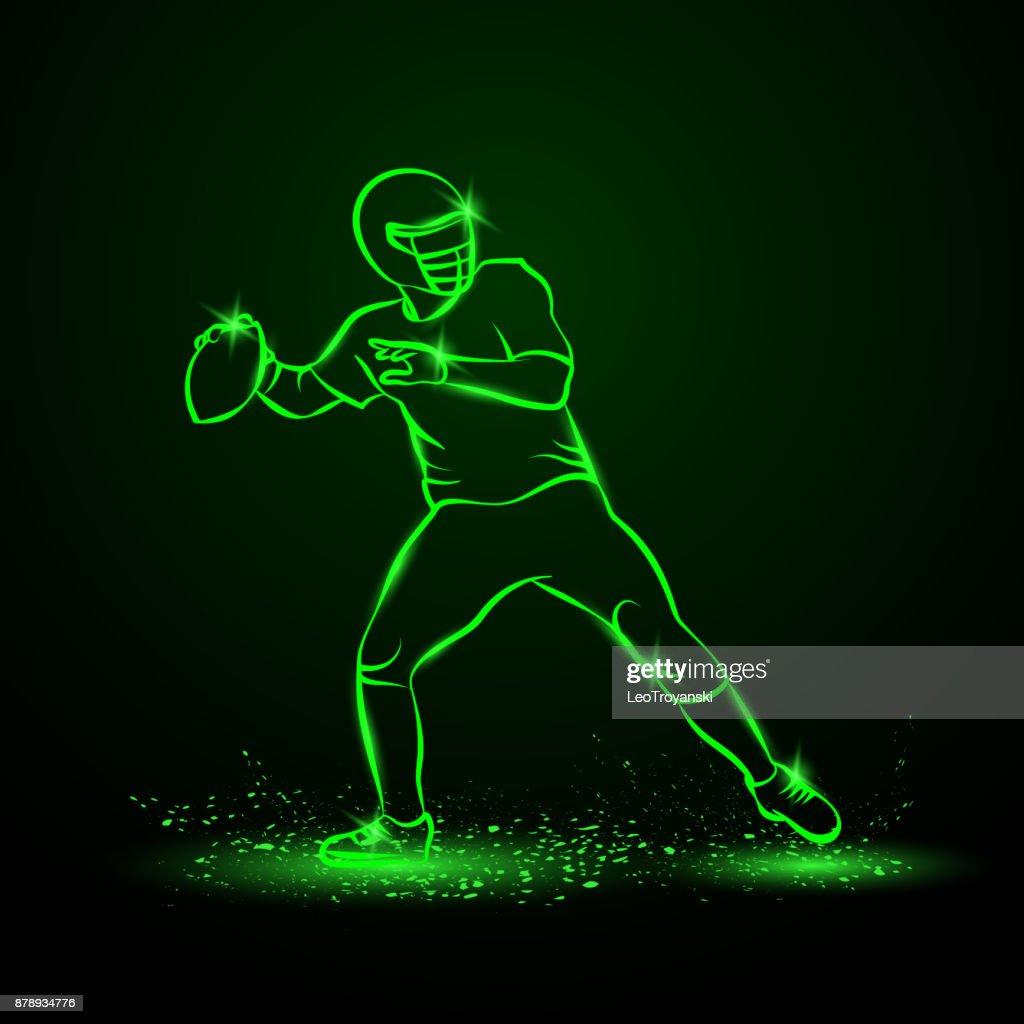 American football quarterback throws the ball. Green Neon Sports Vector Illustration.