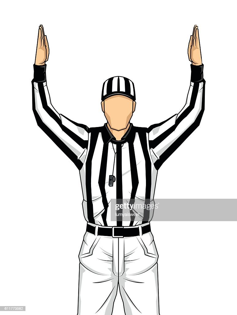 American football referee with touchdown