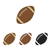 American football set. Sport ball for american football. Vector silhouettes of a rugby balls. Vector icons isolated on white background. Flat vector collection.