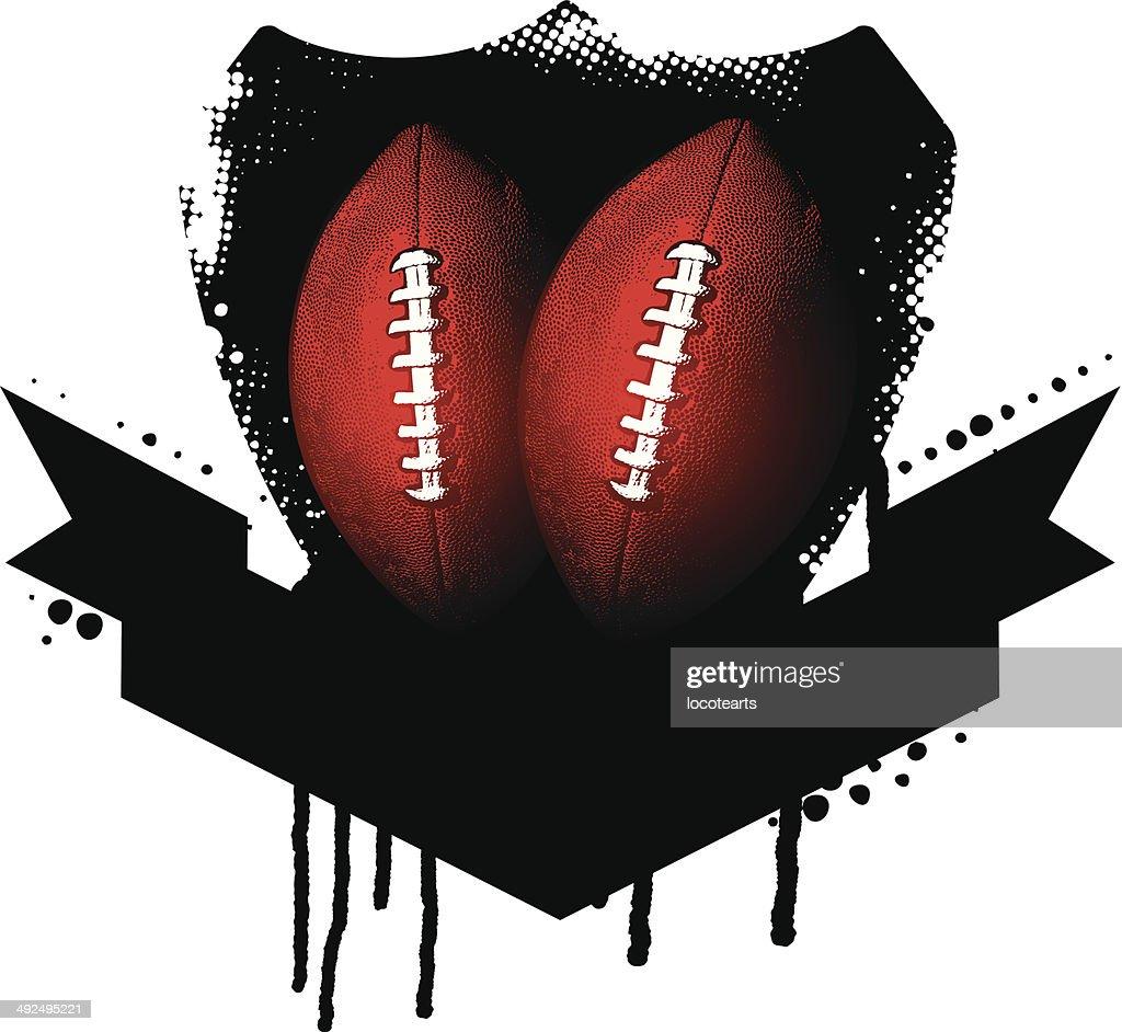 american football shield with balls