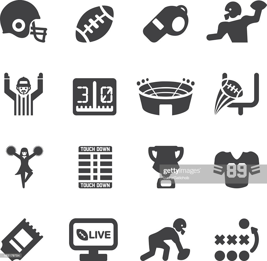 American Football Silhouette icons | EPS10 : stock illustration