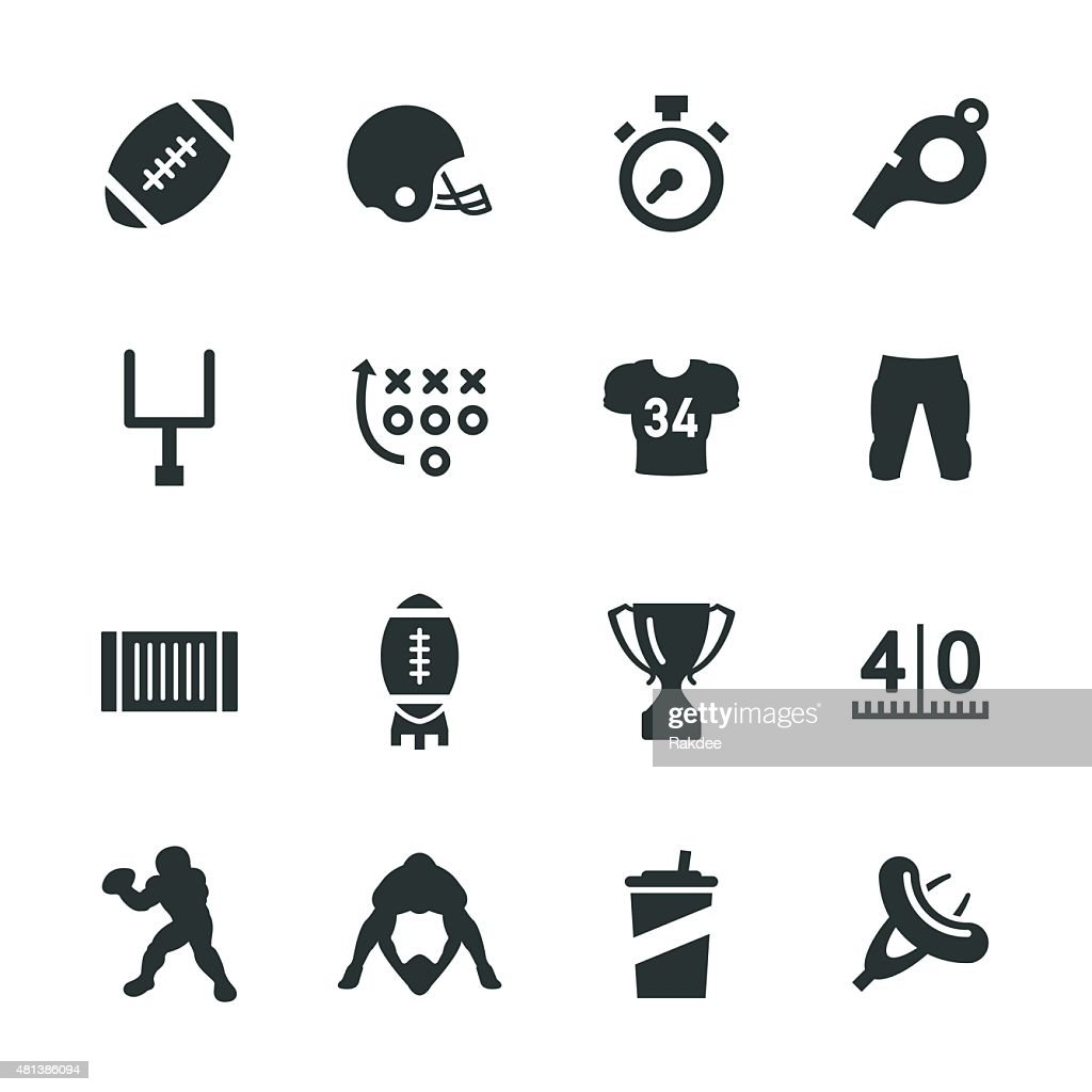 American Football Silhouette Icons : stock illustration