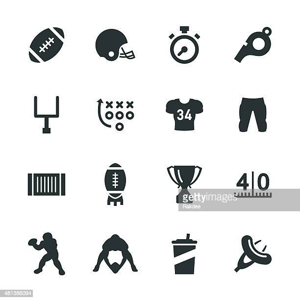 american football silhouette icons - 2015 stock illustrations