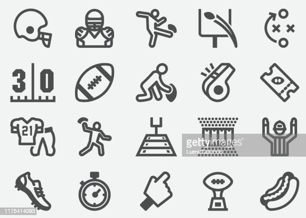 american football sport icons - american football ball stock illustrations