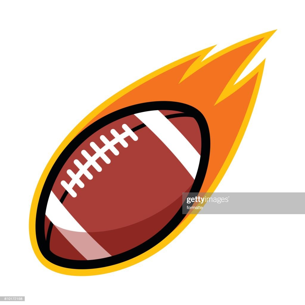 American football sport leather ball comet fire tail flying badge