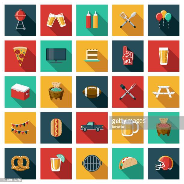 american football tailgating party icon set - team sport stock illustrations