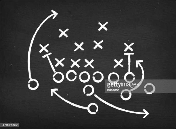 american football touchdown strategy diagram on chalkboard - american football sport stock illustrations