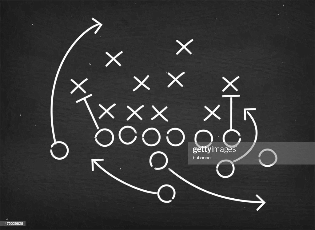 American football touchdown strategy diagram on chalkboard : stock illustration