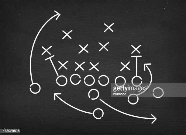 american football touchdown strategy diagram on chalkboard - strategy stock illustrations, clip art, cartoons, & icons