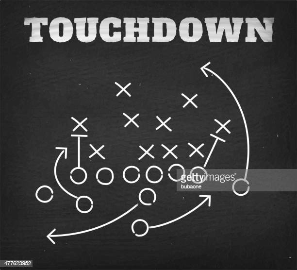 american football touchdown strategy diagram on chalkboard - touchdown stock illustrations