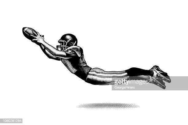 american football wide receiver making great catch - american football ball stock illustrations