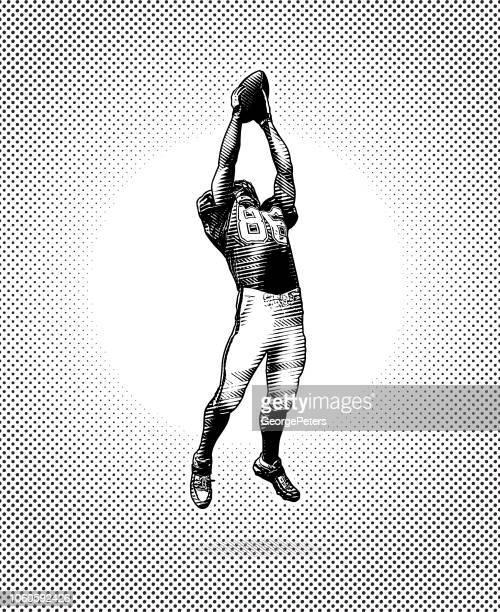 american football wide receiver machen große fangen - football receiver stock-grafiken, -clipart, -cartoons und -symbole