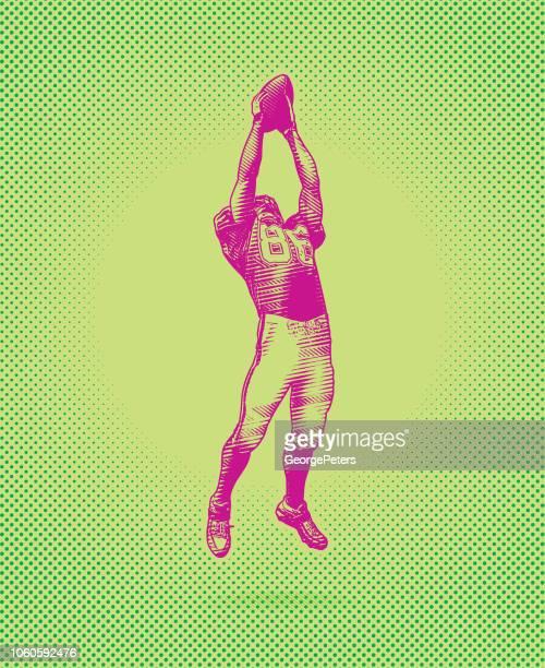 illustrations, cliparts, dessins animés et icônes de american football wide receiver faisant grand attraper - couleur saturée