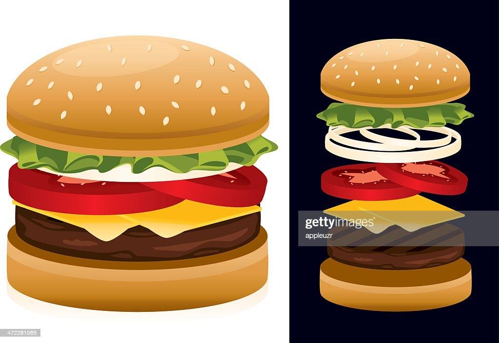 American Hamburger : stock illustration