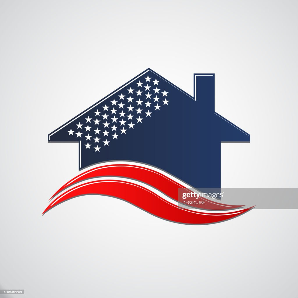 American House 50 stars. Vector Illustration