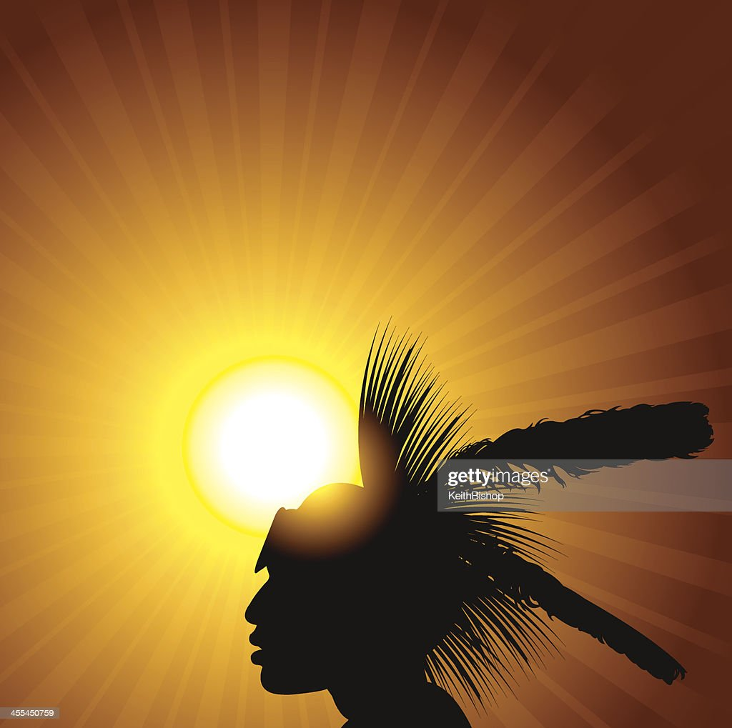 American Indian and Sun Burst : stock illustration