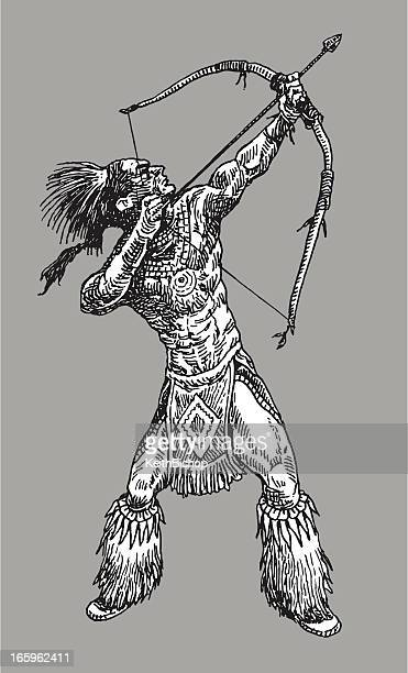 american indian - bow and arrow - apache culture stock illustrations, clip art, cartoons, & icons