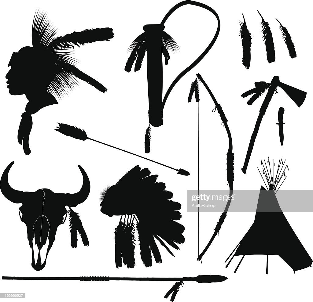 American Indian Hunting Equipment : stock illustration