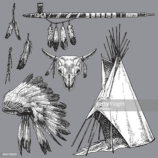 American Indian Peace Pipe, Headdress, Teepee
