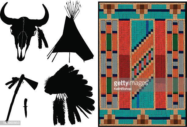 American Indian - Teepee, Headdress, Tomahawk