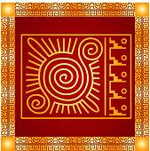 American indians, Maya and Aztec symbolic ornaments set