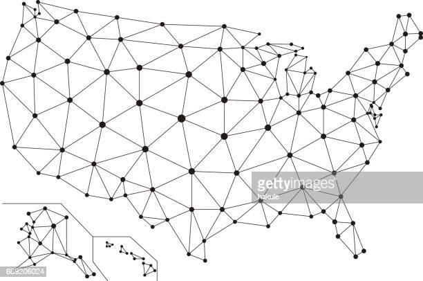 アメリカのインターネットのネットワーク網。社会的なコミュニケーションの背景、ベクトル イラスト - ワイヤーフレーム作成点のイラスト素材/クリップアート素材/マンガ素材/アイコン素材