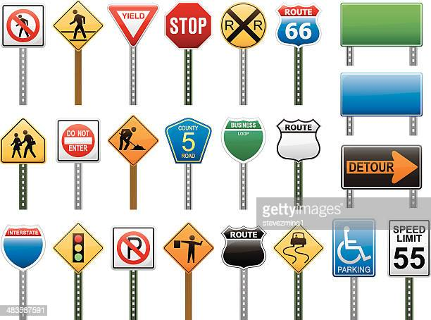 american interstate road sign vector illustration collection - road sign stock illustrations, clip art, cartoons, & icons