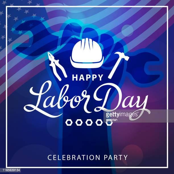 ilustrações, clipart, desenhos animados e ícones de partido de celebração do dia do trabalho americano - dia do trabalhador