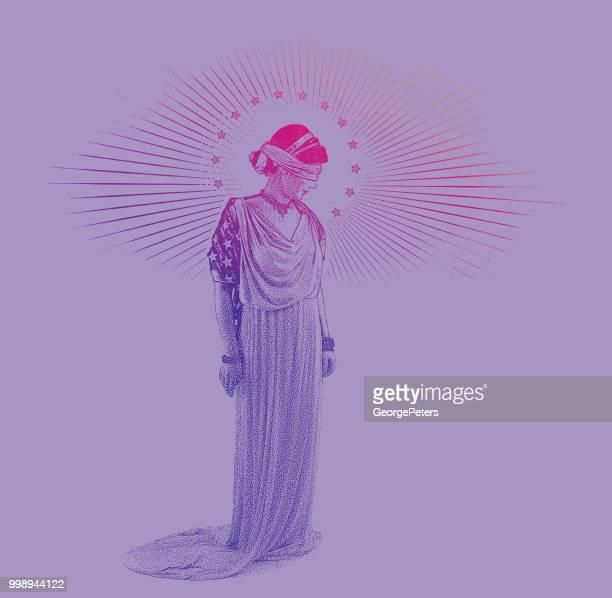 ilustraciones, imágenes clip art, dibujos animados e iconos de stock de justicia americana señora con expresión triste - justicia