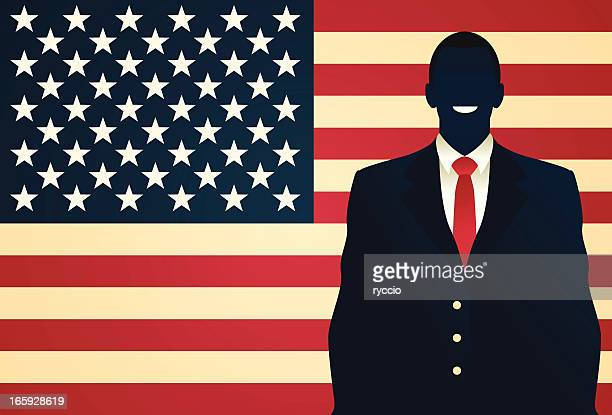 american man - standing in front of the flag - president stock illustrations, clip art, cartoons, & icons