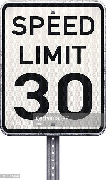 American maximum speed limit 30 mph road sign