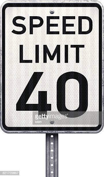 アメリカ最大 40 mph 速度制限標識 - 数字の40点のイラスト素材/クリップアート素材/マンガ素材/アイコン素材