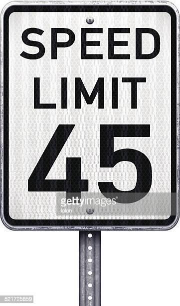 American maximum speed limit 45 mph road sign