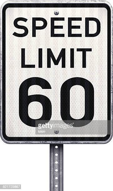 アメリカ最大 60 mph 速度制限標識 - 数字の60点のイラスト素材/クリップアート素材/マンガ素材/アイコン素材