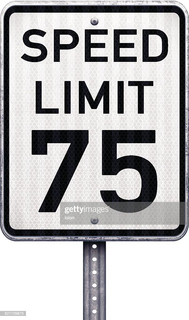 American maximum speed limit 75 mph road sign : stock illustration