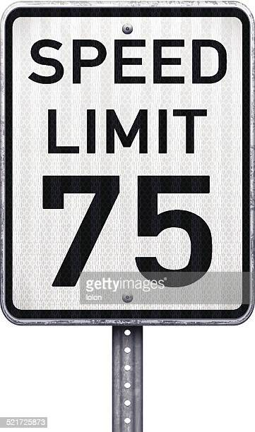 American maximum speed limit 75 mph road sign