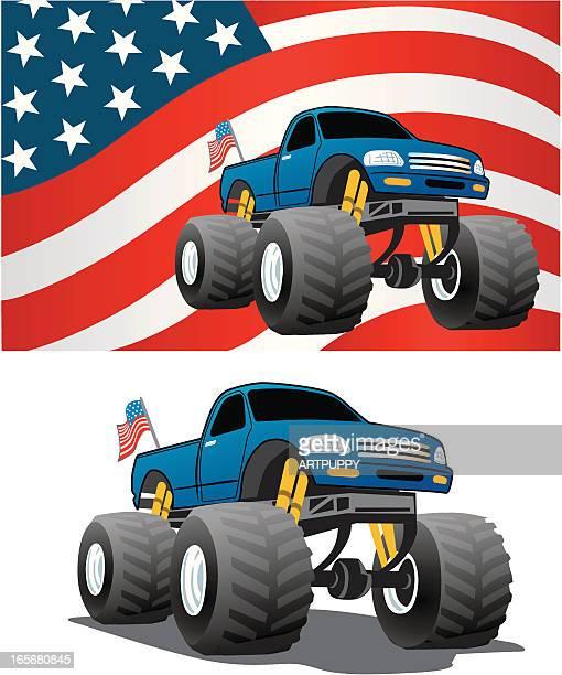 ilustraciones, imágenes clip art, dibujos animados e iconos de stock de camión americano - monstertruck
