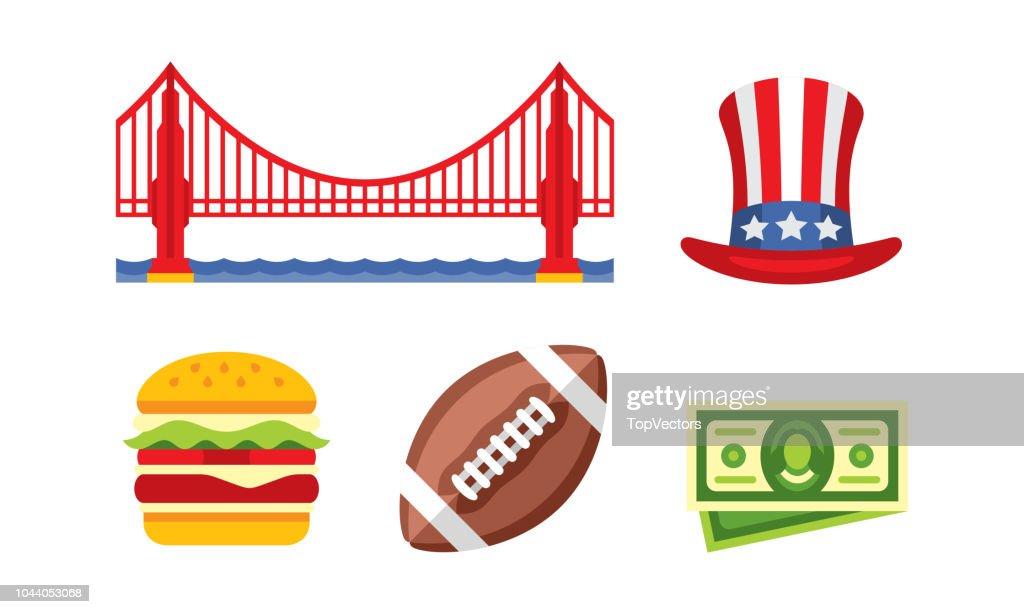 American national symbols, Golden Gate bridge, Uncle Sam hat, burger, American football ball, dollar bill vector Illustration on a white background
