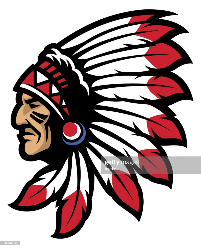 American native chief head mascot