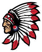 American native chief head mascot