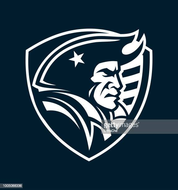 American patriot mascot head on shield outline silhouette for dark background