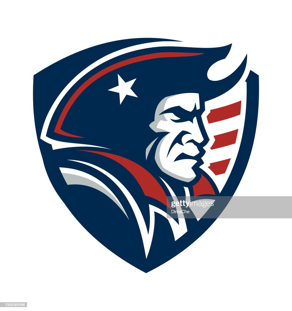 American Patriot Mascot on shield with US flag : stock illustration