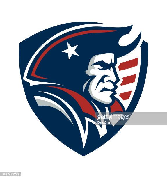 american patriot mascot on shield with us flag - patriotism stock illustrations