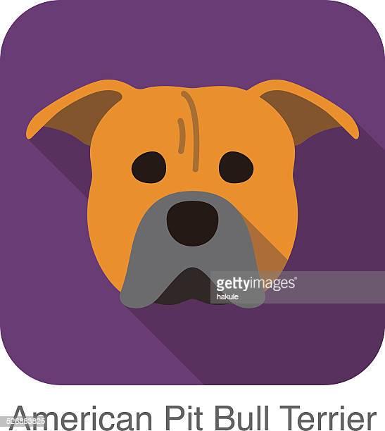 ilustraciones, imágenes clip art, dibujos animados e iconos de stock de pit bull terrier americano perro cara plana, serie dog icono - pit bull terrier