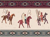 American prairie pattern. Seamless Abstract ethnic pattern. Background in navajo style. Tribal design.