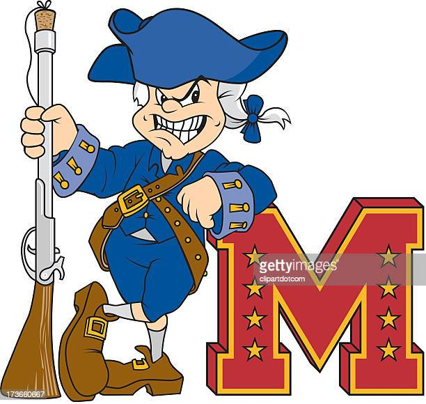 american revolution soldier with letter m - american revolution stock illustrations, clip art, cartoons, & icons