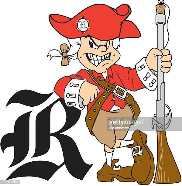 american revolution soldier with letter r - american revolution stock illustrations, clip art, cartoons, & icons