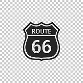 American road icon isolated on transparent background. Route sixty six road sign. Flat design. Vector Illustration
