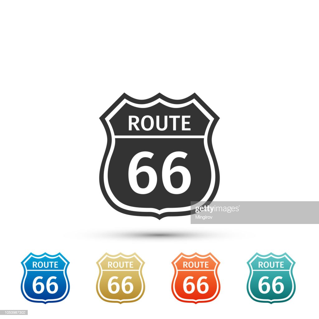 American road icon isolated on white background. Route sixty six road sign. Set elements in colored icons. Flat design. Vector Illustration