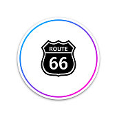 American road icon isolated on white background. Route sixty six road sign. Circle white button. Vector Illustration